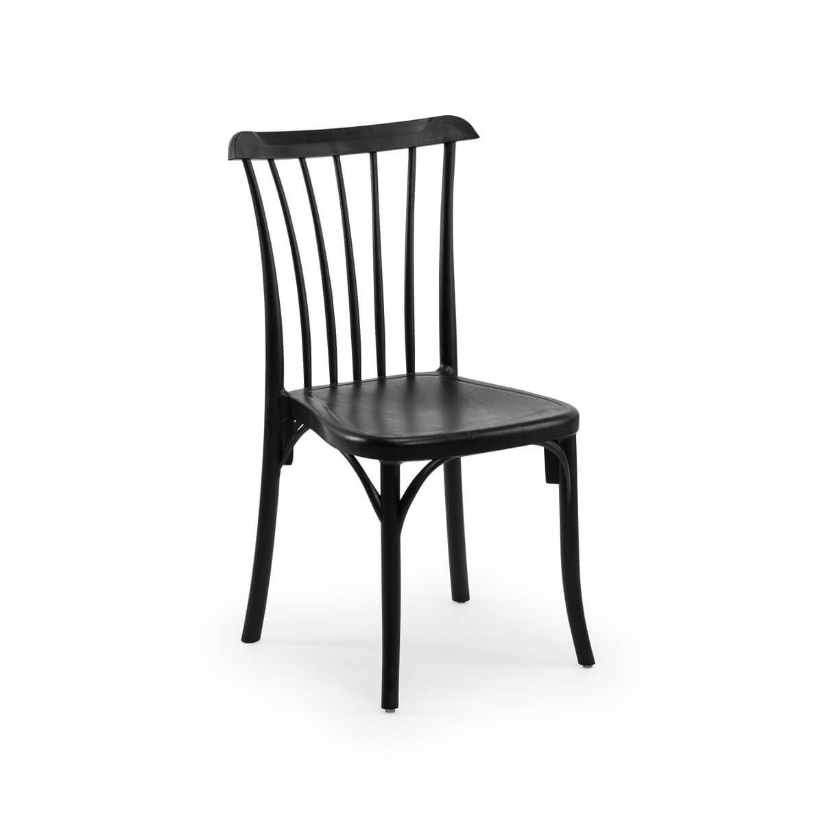 כסא מיתרים שחור - דמוי עץ