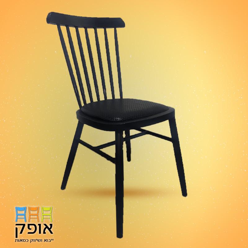 כסא נערם שחור מיתרים - אופק כסאות