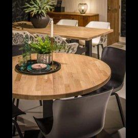 שולחן עץ מלא אלון עגול